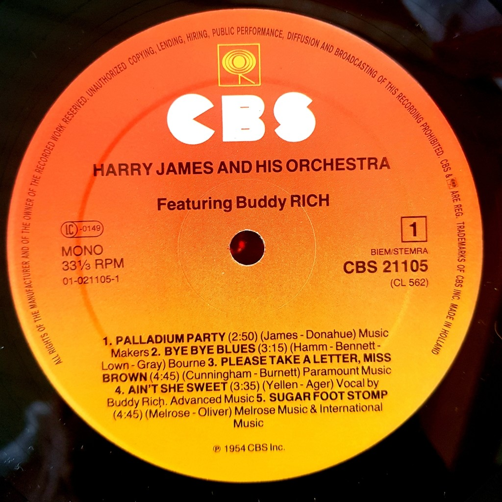 Harry James And His Orchestra Featuring Buddy Rich I Love Jazz