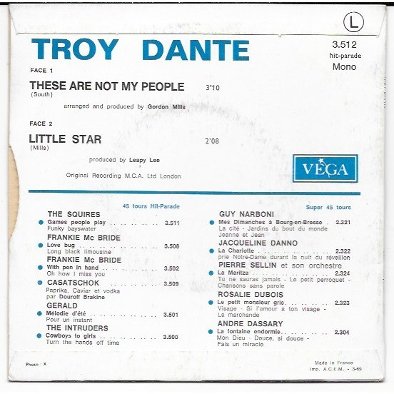 Troy Dante These Are Not My People / Little Star