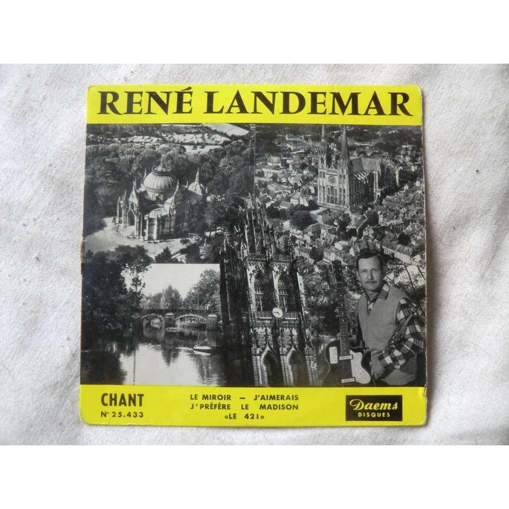 Réné LANDEMAR & His BAND Le miroir + 3 (ultra rare original micro French press - mid 1960s - Back cover Artists dedication)