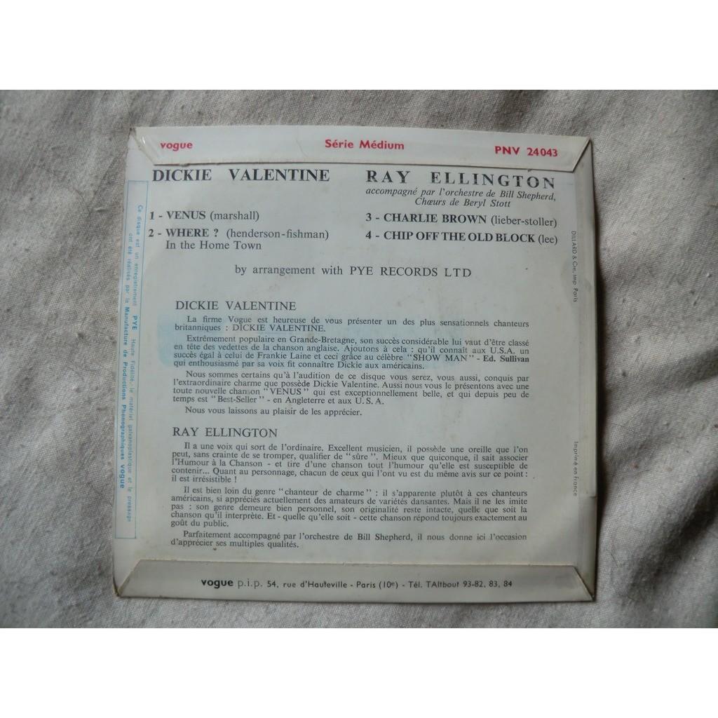 Dickie VALENTINE / Ray ELLINGTON Venus + 1 / Charlie Brown + 1 (original French press - 1959 - fleepback cover)