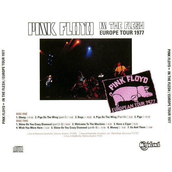pink floyd In The Flesh / Europe Tour 1977