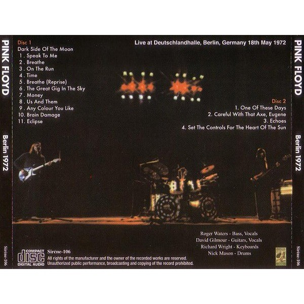 pink floyd Berlin 1972 - Live at Deutschlandhalle, Berlin, Germany 18th May 1972