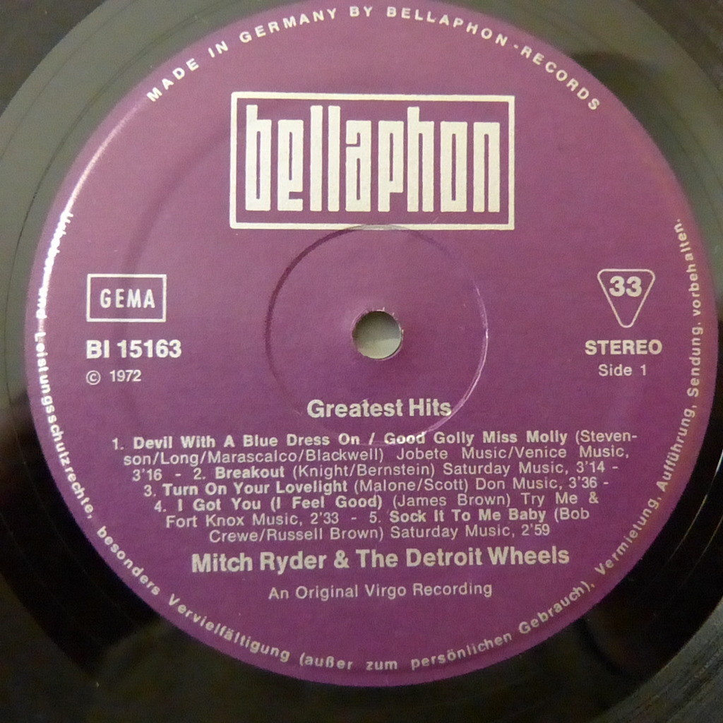 MITCH RYDER AND THE DETROIT WHEELS GREATEST HITS