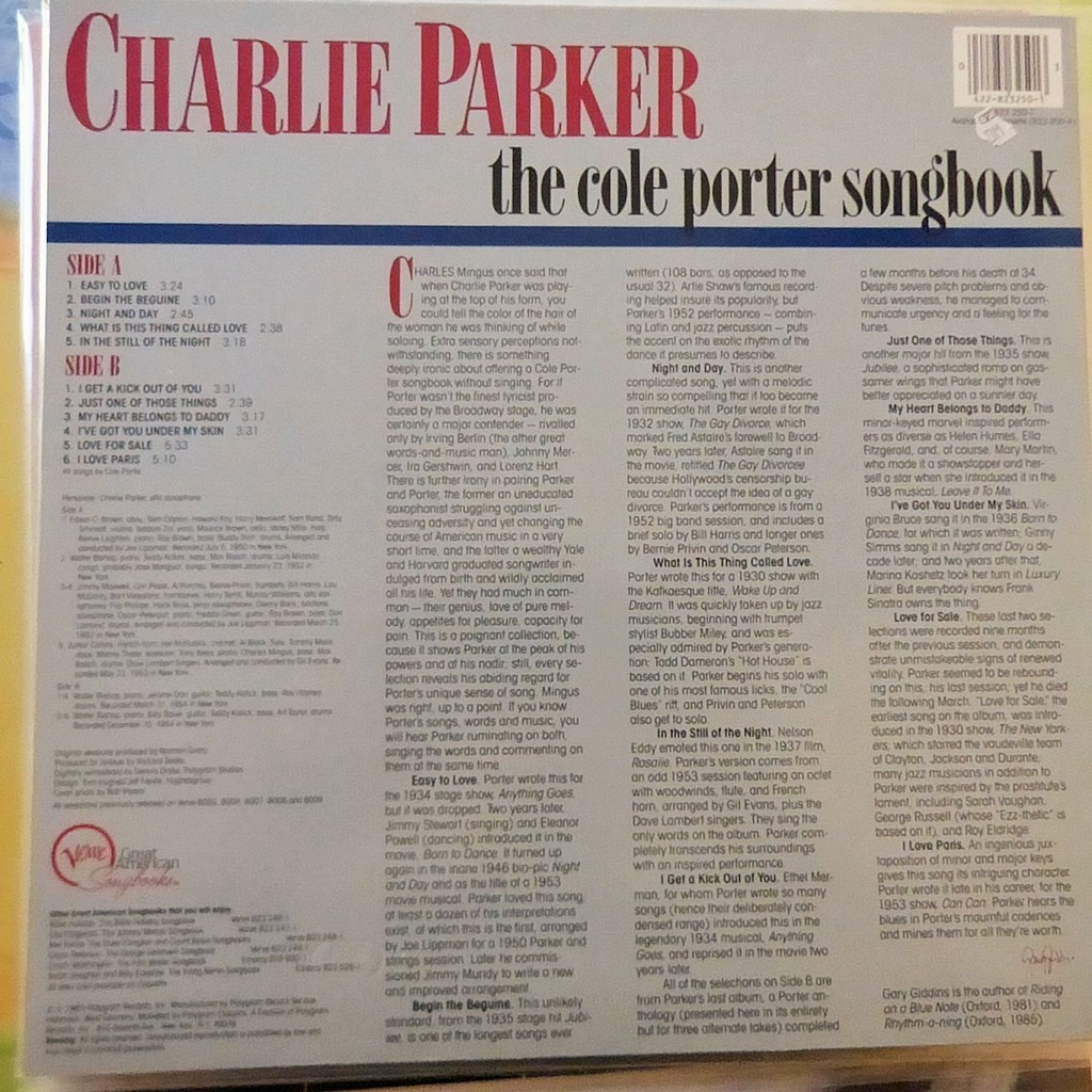 CHARLIE PARKER THE COLE PORTER SONGBOOK