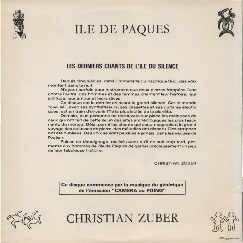 CHRISTIAN & NADINE ZUBER + Caméra Au Poing ILES DE PAQUES (musique du film) avec le Groupe Alberto Hotu-Chavez / HORS COMMERCE + DEDICACE