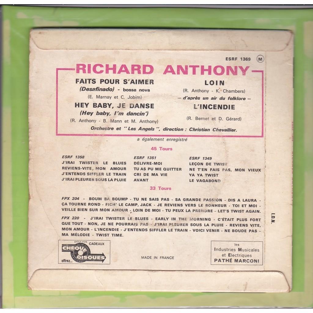 ANTHONY Richard Faits pour s'aimer