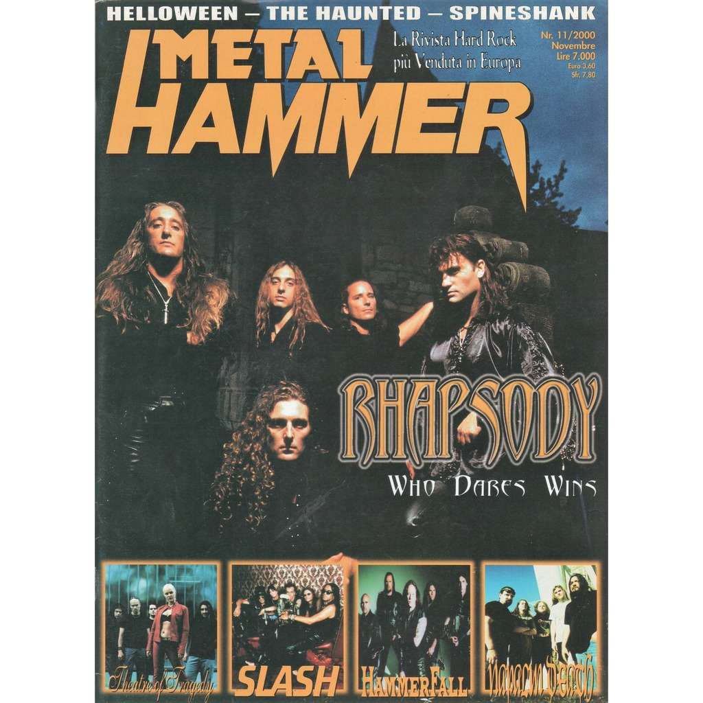 Rhapsody Metal Hammer (N.11 Nov. 2000) (Italian 2000 Rhapsody front cover magazine!)