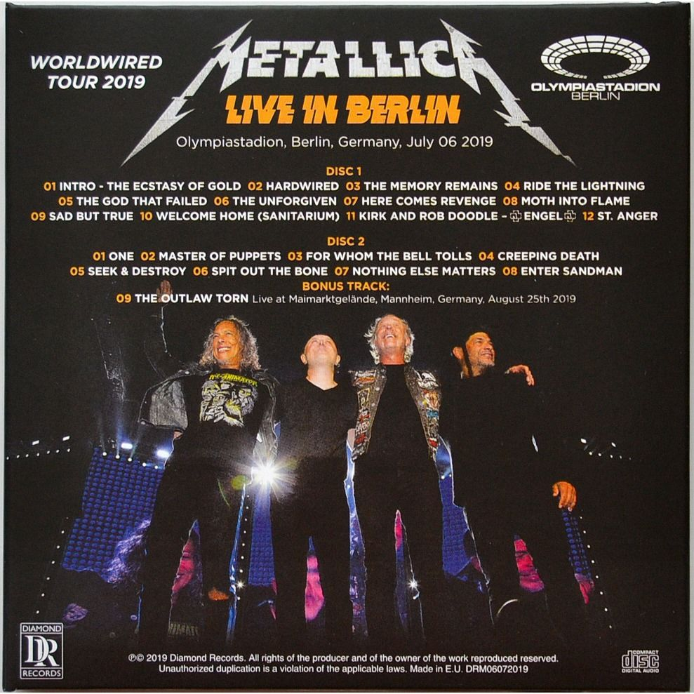 METALLICA Live In Berlin Germany 2019 World Wired Tour 2CD