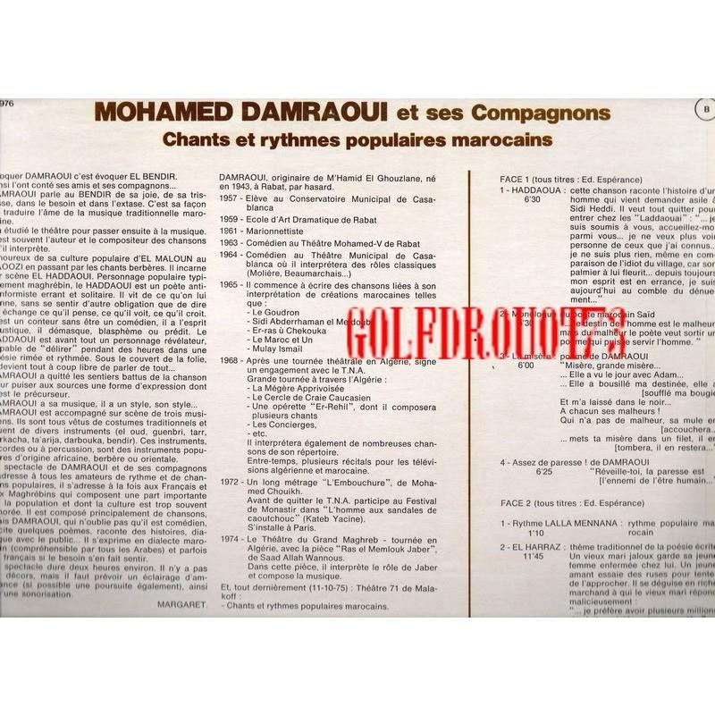 MOHAMED DAMRAOUI ET SES COMPAGNONS CHANTS ET RYTHMES POPULAIRES MAROCAINS