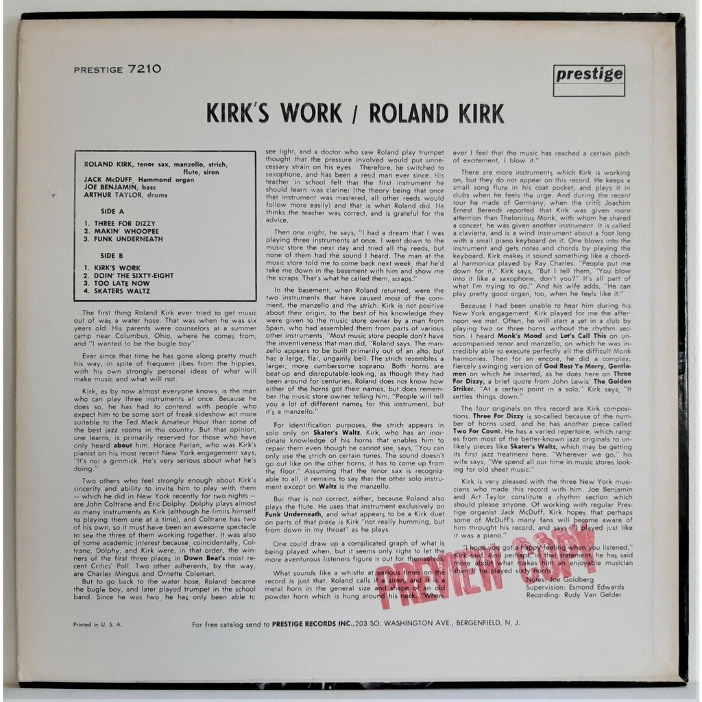 Roland Kirk Kirk's Work