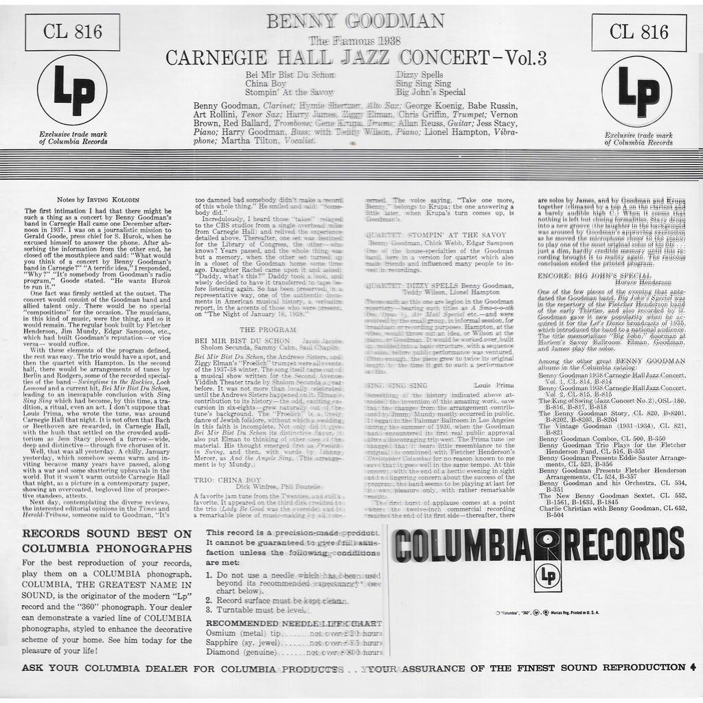 Benny GOODMAN Famous 1938 Carnegie Hall Jazz Concert (vol 3)