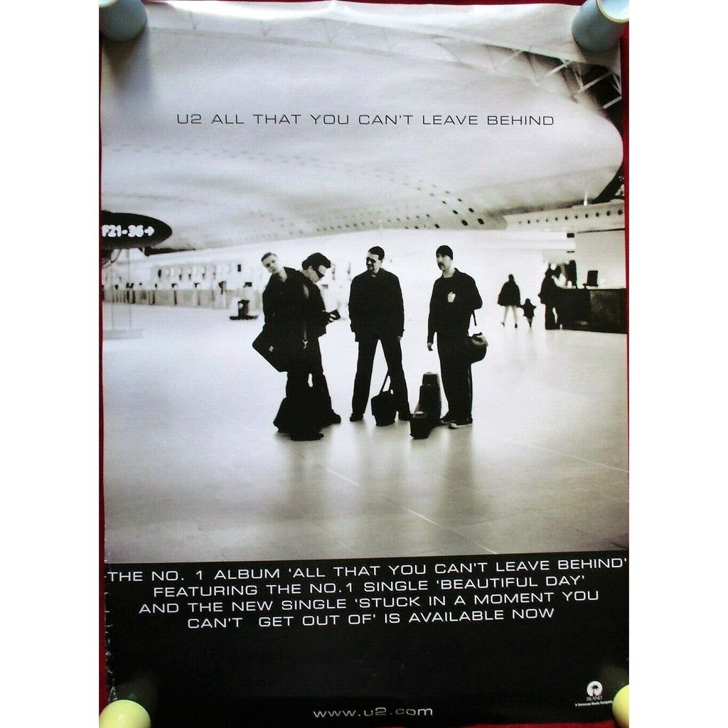 U2 Stuck In A Moment / All That You Can't Leave Behind (UK 2000 Island original promo shop poster!!)
