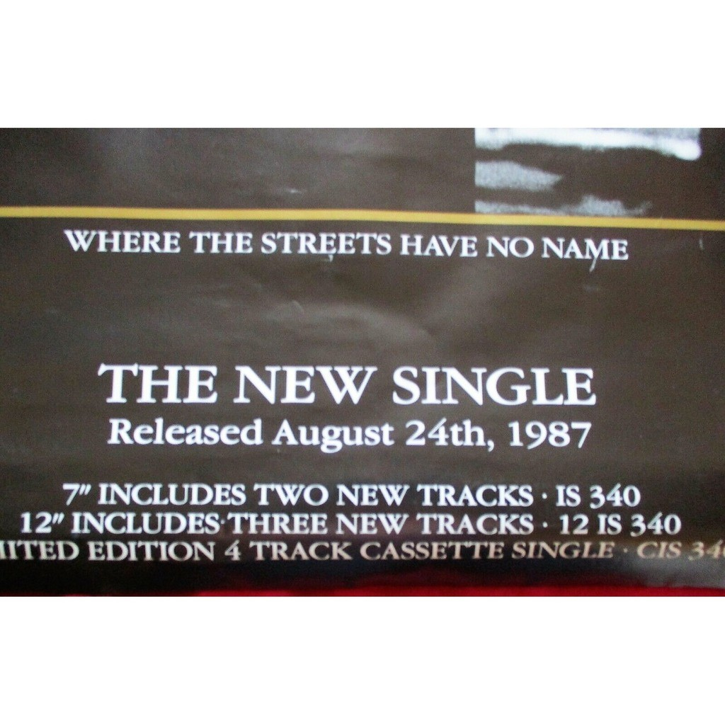 U2 Where The Streets Have No Name (UK 1987 original Island 'single release' promo shop poster!!)