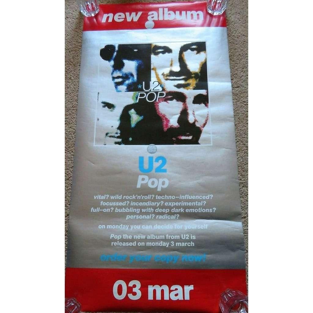 U2 POP (UK 1997 Island-Polygram original large 'Album release' promo shop texured poster! )