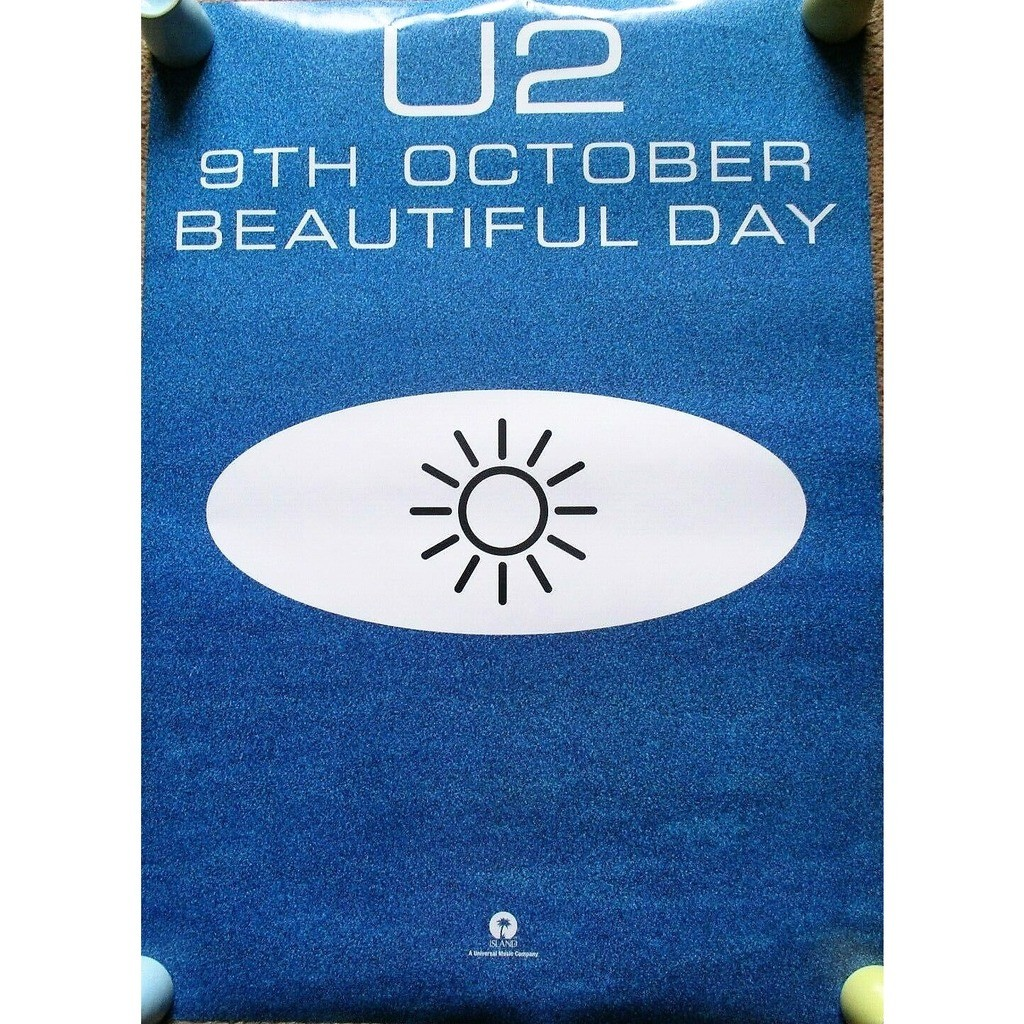 u2 Beautiful Day (UK 2000 original Island 'single release' double sided promo shop poster!)