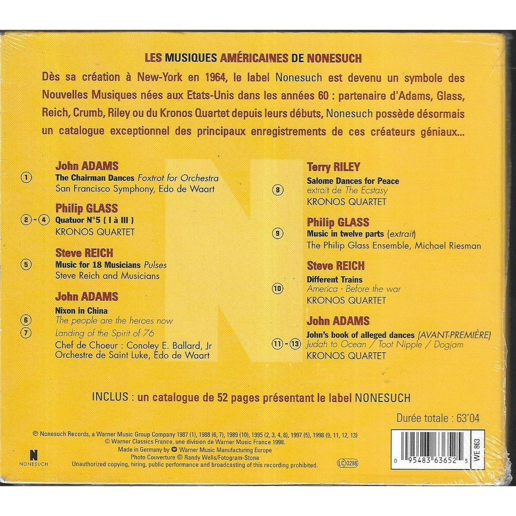 Philip Glass / STEVE REICH / JOHN ADAMS /T. RILEY Les Musiques Americaines De Nonesuch (CD-CATALOGUE)