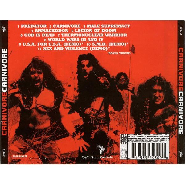 CARNIVORE Carnivore + 3 bonus tracks (8 page booklet with lyrics) CD (2014 pressing)