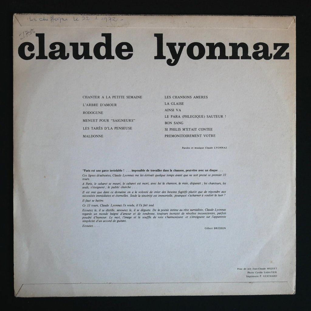 Claude Lyonnaz Chanter à la petite semaine