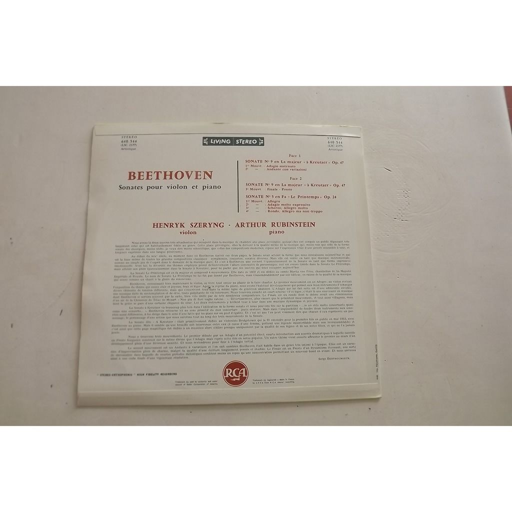 Beethoven Arthur Rubinstein Henryk Szeryng Sonates N°5 En Fa Le Printemps N°9 En La A Kreutzer