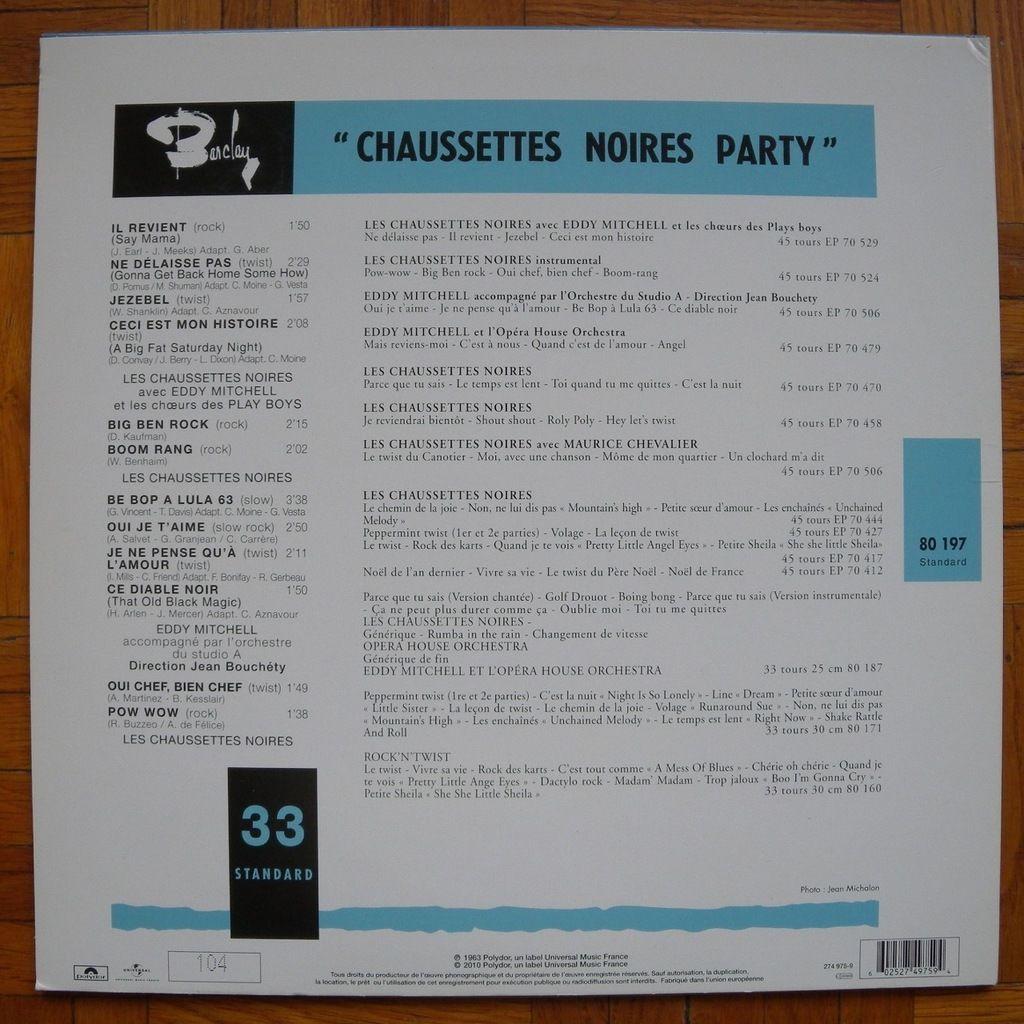 Les Chaussettes Noires (avec Eddy Mitchell) Chaussettes Noires Party (réédition numérotée)