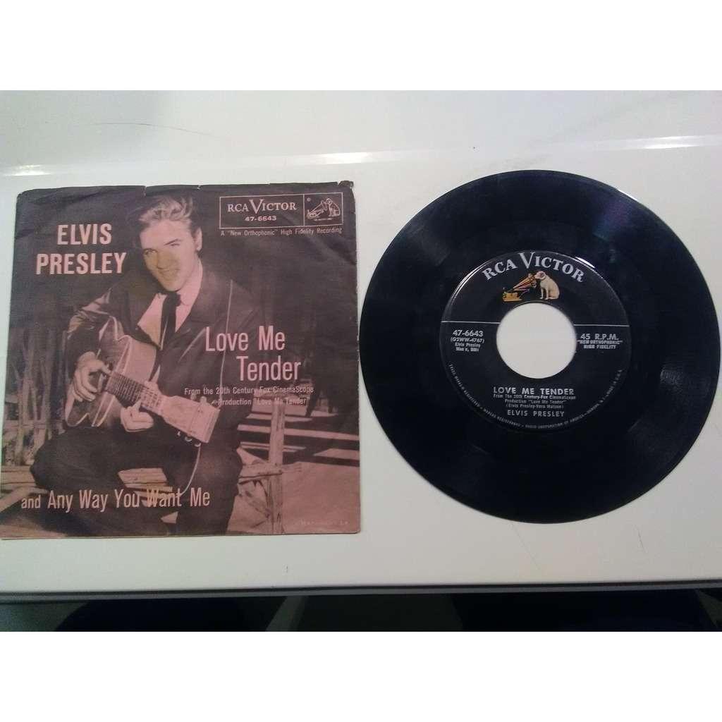 elvis presley 001 black label 45 USA 1956 light pink PS RCA 47-6643 love me tender