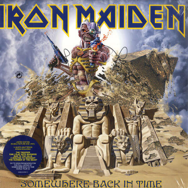 iron maiden SOMEWHERE BACK IN TIME (Euro 2008 LTD 15-TRK 2LP PICTURE DISC GF PS+INNER SLVS-SEAled+sticker copy)