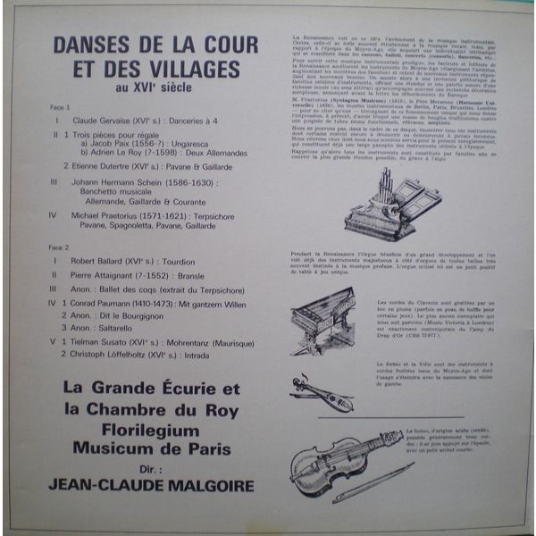 J-C Malgoire la grande écurie et la chambre du roy Danses de la cour et des villages au XVIème siècle