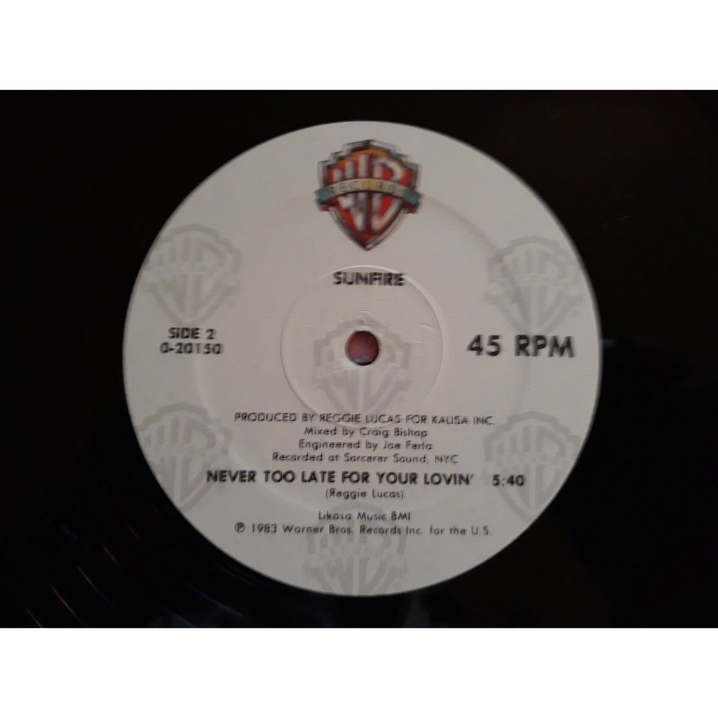 Sunfire video queen / never too late for your lovin..1983