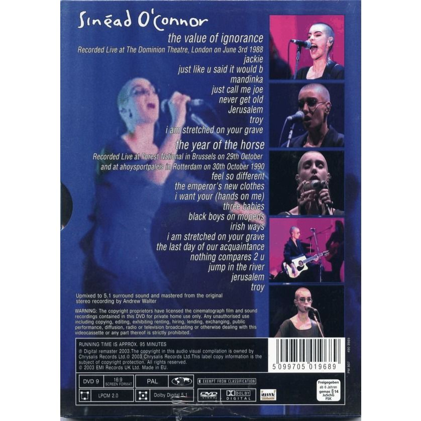 Sinead O'Connor The Value Of Ignorance + The Year Of The Horse DVD (Digipak)