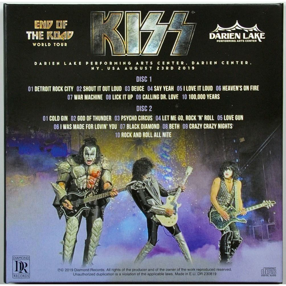 KISS Live at Darien Lake USA 23 August 2019 2CD End Of The Road Tour 2CD Digisleeve