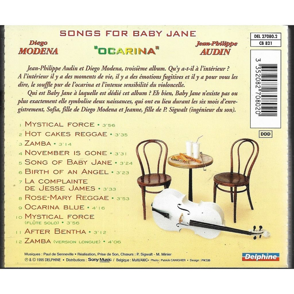 diego modena jean philippe audin songs for baby jane