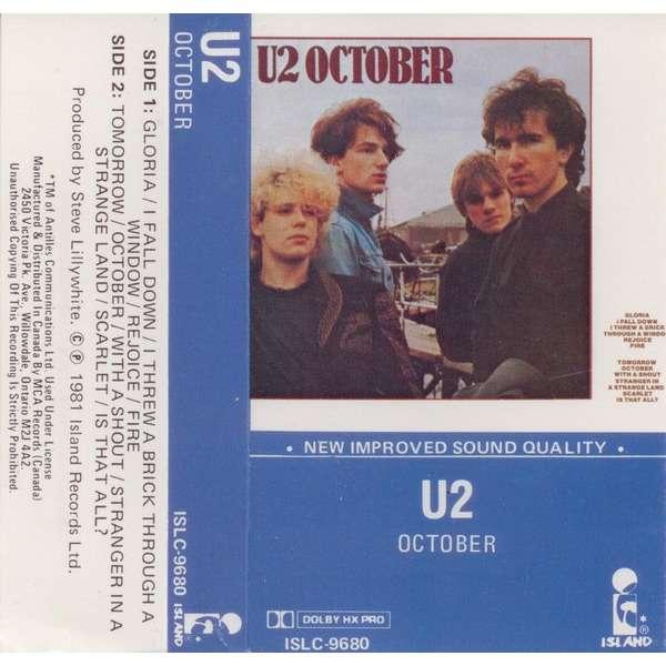 U2 October (Canada 1982 original 11-trk Cassette album unique blu border ps)
