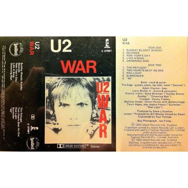 u2 war (Australia 1983 original 10-trk Cassette album on Island-Festival lbl unique ps)