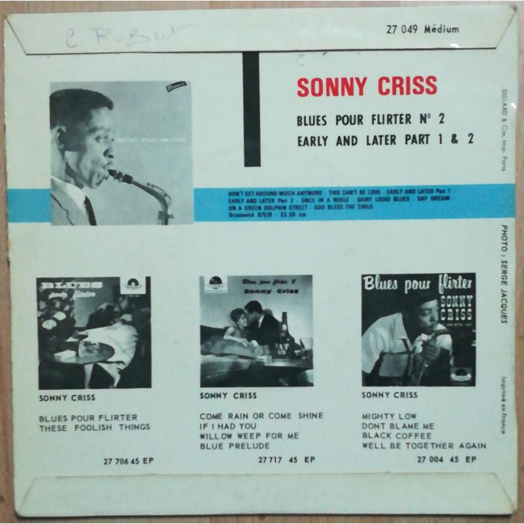 SONNY CRISS blues pour flirter / early and later