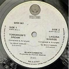 Black Sabbath SABBATH BLOODY SABBATH (Australia 1973 original 2-trk 7single on swirl Vertigo lbl)