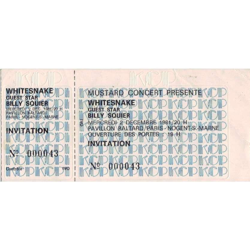 whitesnake ticket billet place concert unused whitesnake 1981 paris + billy squier
