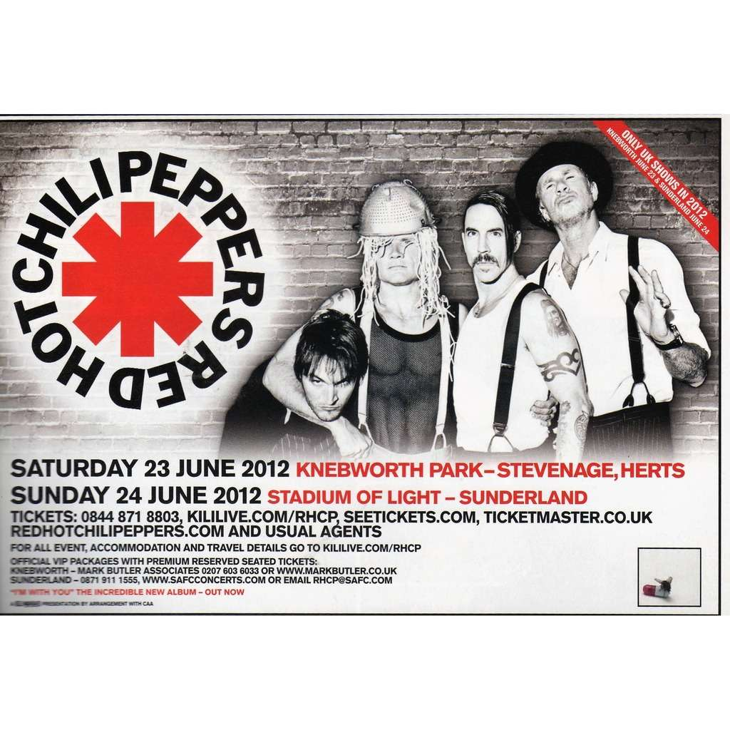 Red Hot Chili Peppers UK Tour June 2012 (UK 2012 promo type advert 'Tour dates' concert flyer!!)