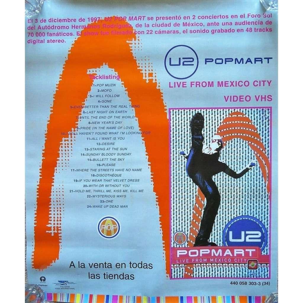 u2 PopMart Live from Mexico City (Mexico 1998 original 'Island' Shop Promo 'Video release' Poster!!)