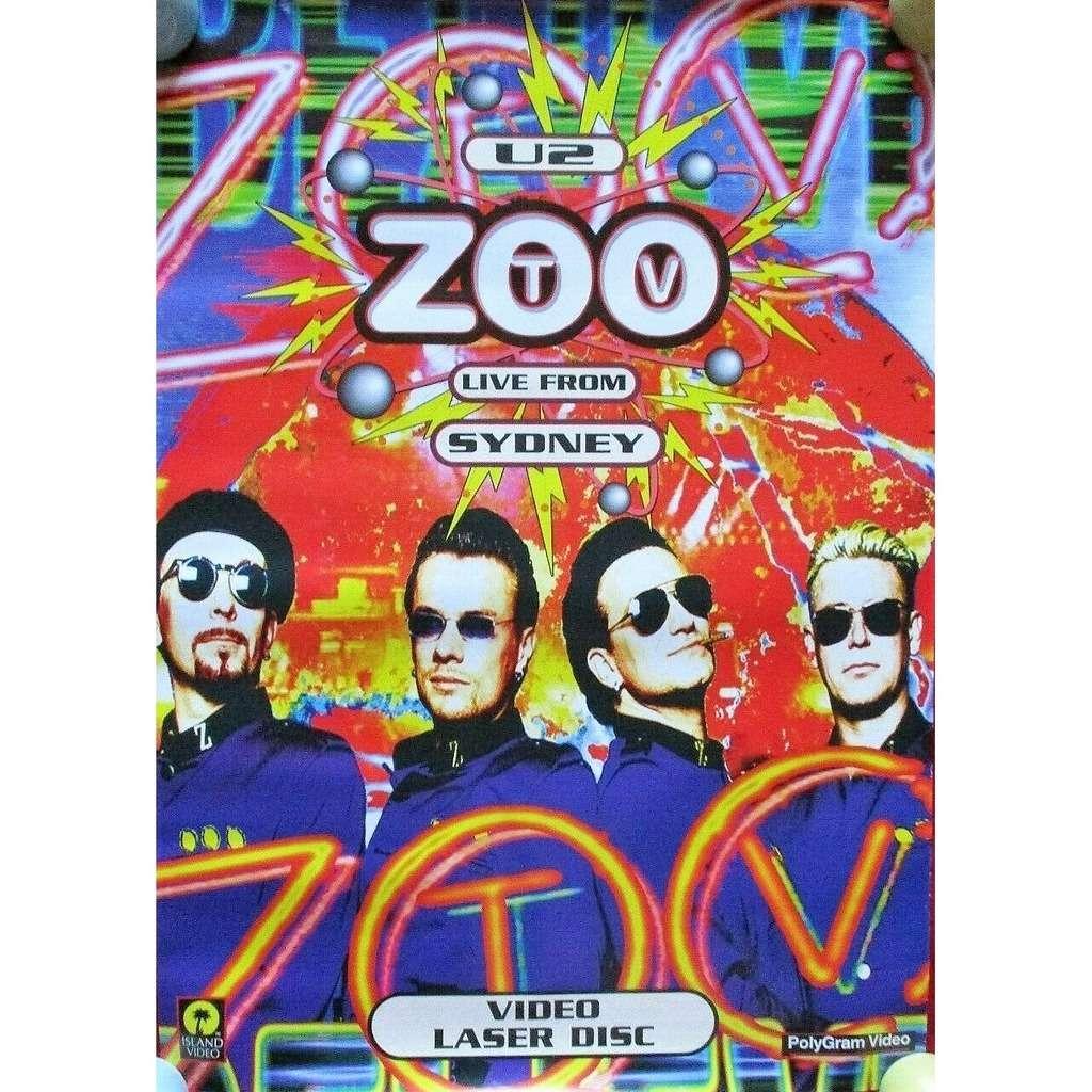 u2 Zoo TV Live From Sydney (UK 1994 original 'Island' Shop Promo 'Video release' Poster!!)