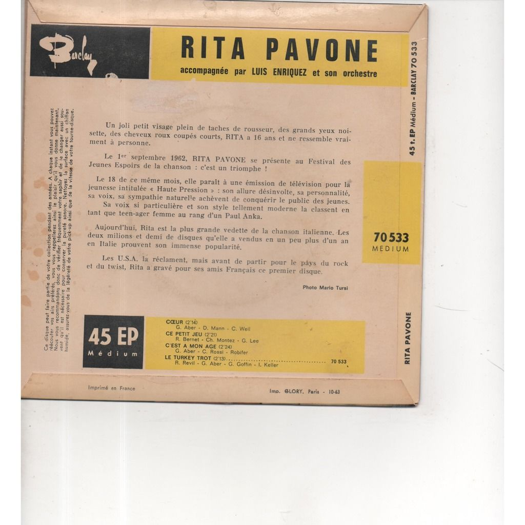 Rita Pavone Coeur/ ce petit jeu/ c'est à mon age/ le turkey tot