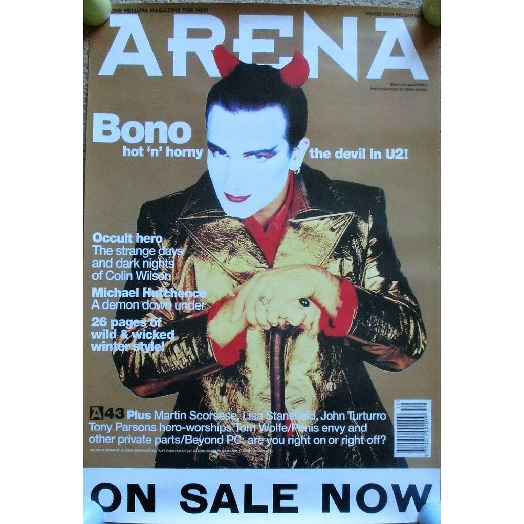 U2 / Bono Arena (Winter 93/94) (UK 1993 Arena 'Bono front cover Magazine Advertising promo Posterr !!)