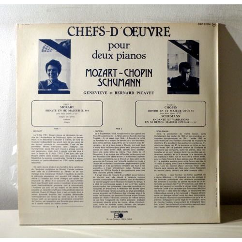 GENEVIEVE & BERNARD PICAVET Chef d'oeuvre pour piano a deux mains MOZART CHOPIN SCHUMANN