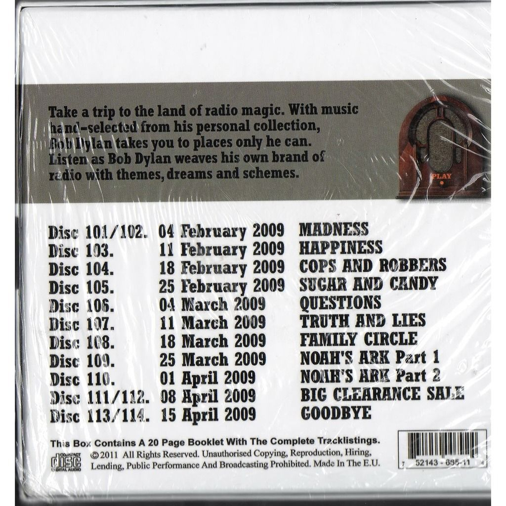 Bob Dylan Theme Time Radio Hour - With Your Host Bob Dylan The Final Box (Euro 2011 Ltd 14CD box set)
