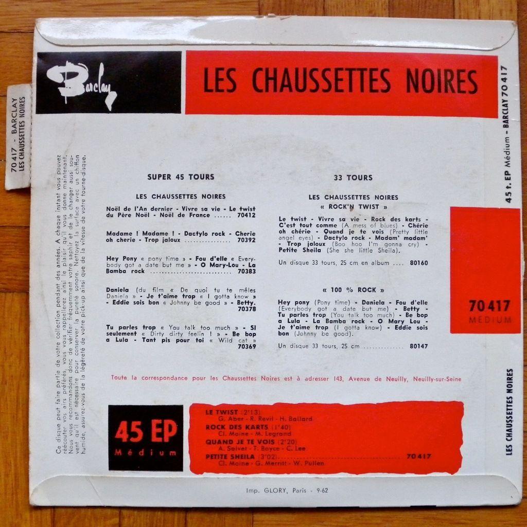LES CHAUSSETTES NOIRES -avec languette- LE TWIST / ROCK DES KARTS / QUAND JE TE VOIS / PETITE SHEILA