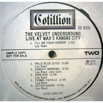 The Velvet Underground Live At Max's Kansas City (USA 1972 original mono 10-trk w/label LP promo DJ stickered ps)