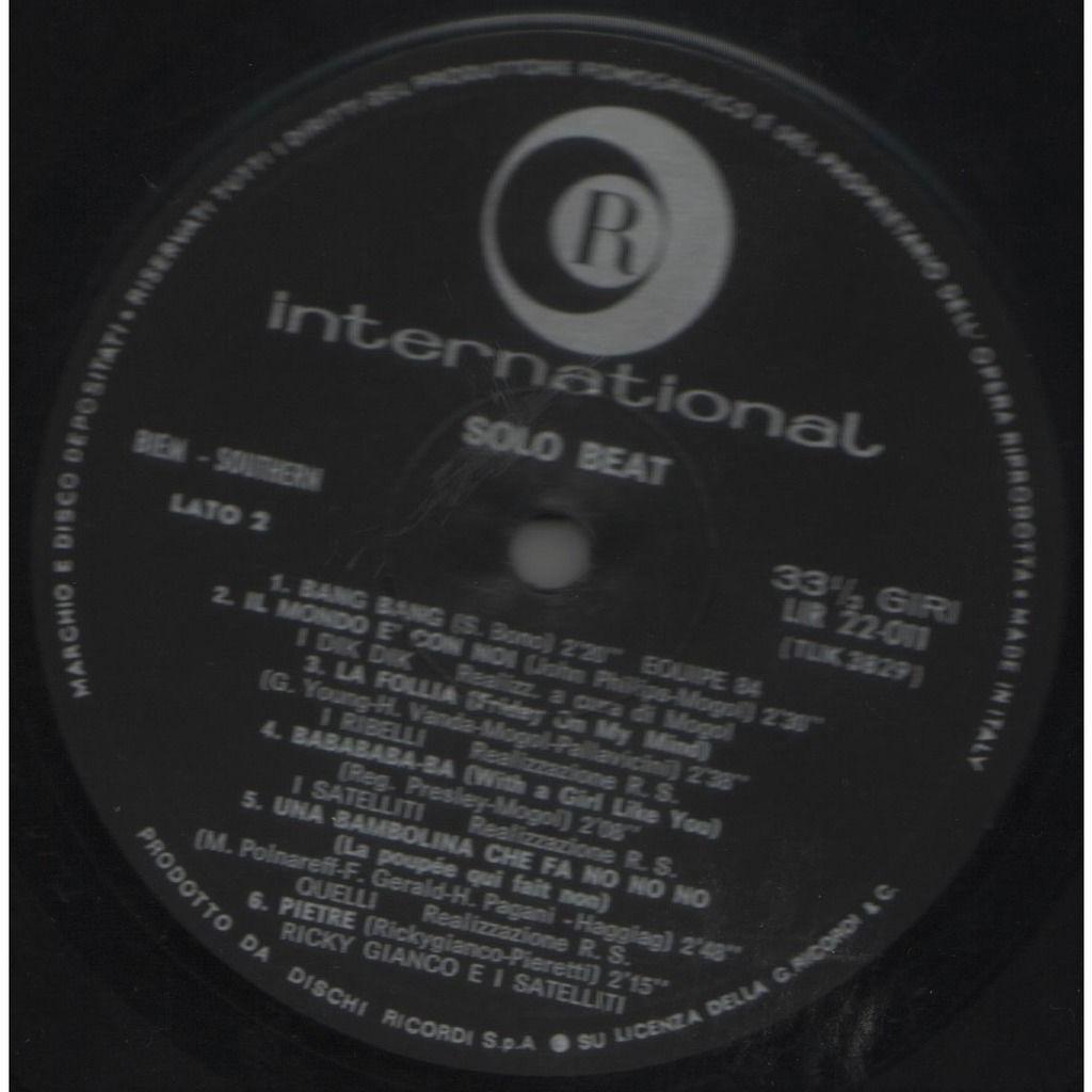 I Dik Dik Solo Beat (Italian 1967 original 12-trk V/A LP on Ricordi International lbl unique ps)