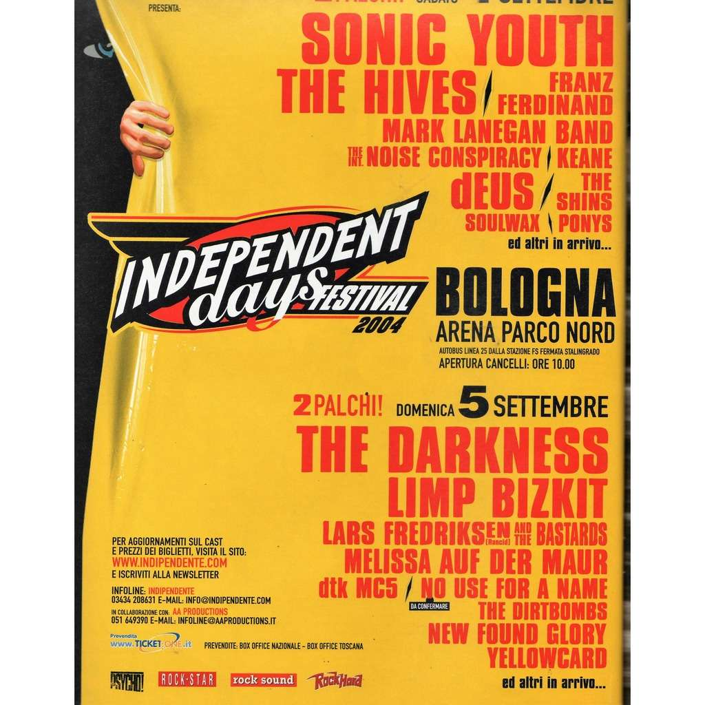 Sonic Youth / The Hives / Franz Ferdinand Indipendent Days Festival Bologna 04/05.09.2004 (Italian 2004 promo type advert concert poster flyer
