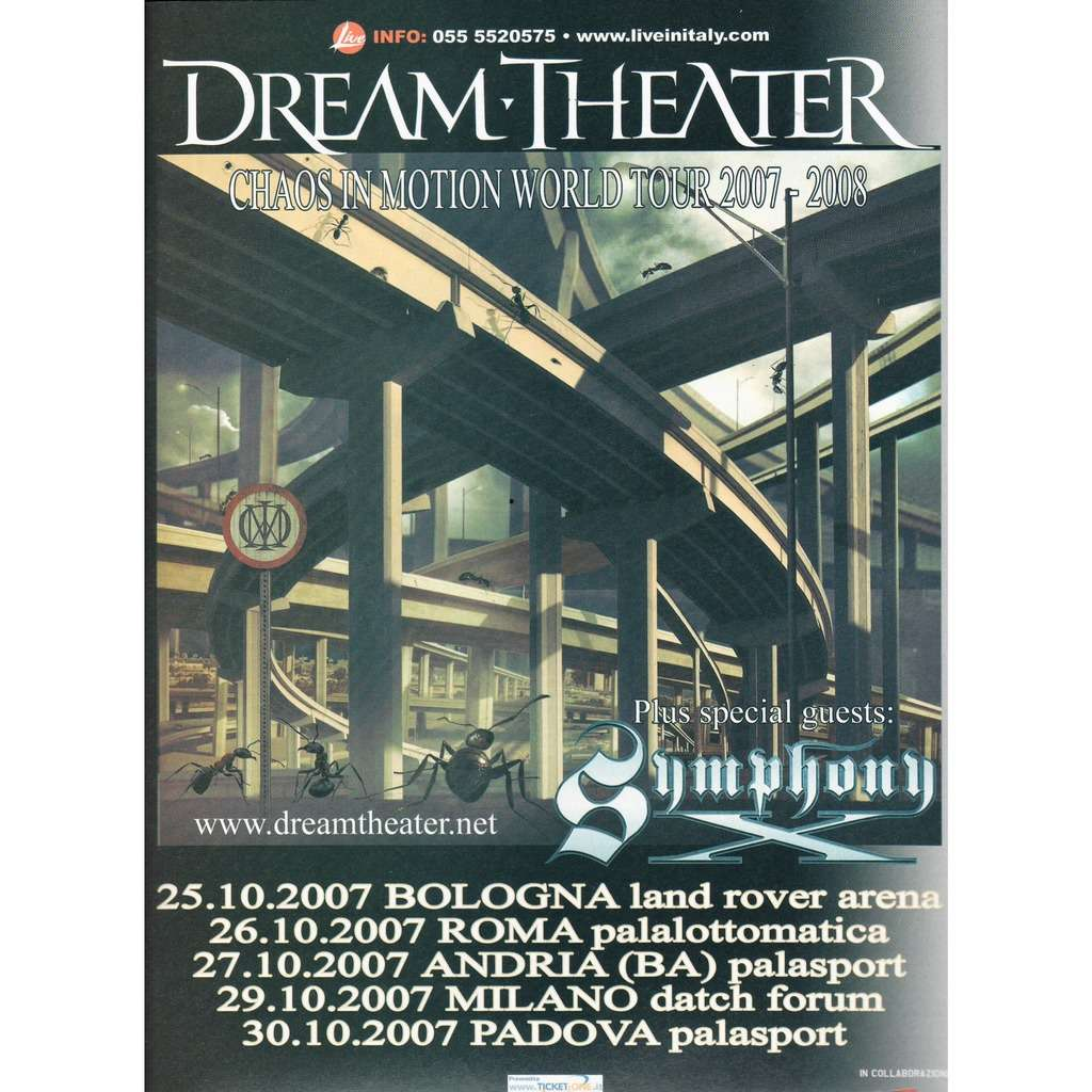 Dream Theater Chaos In Motion Italian Tour 2007 (Italian 2007 promo type advert 'Tour Dates'concert poster flyer!)