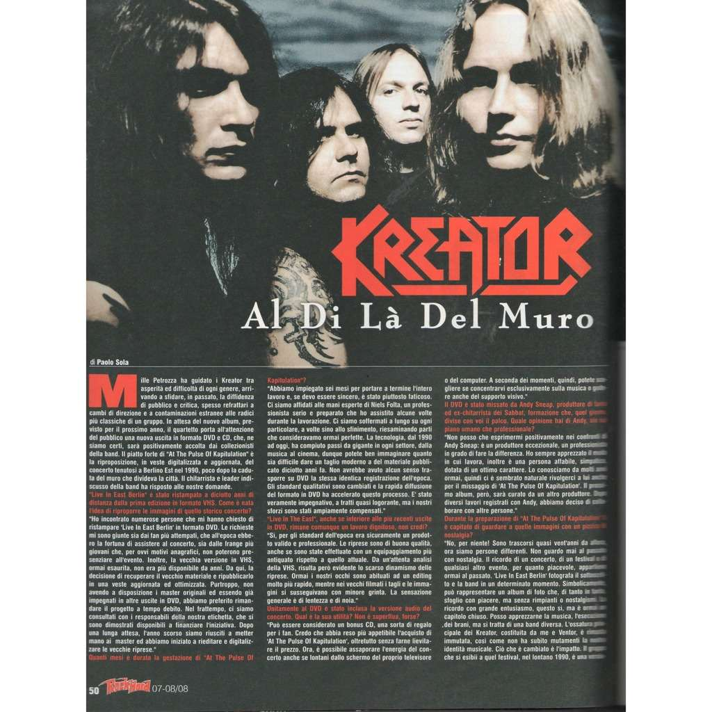 Kreator Rock Hard (N.68 July/Aug. 2008) (Italian 2008 music magazine!!)