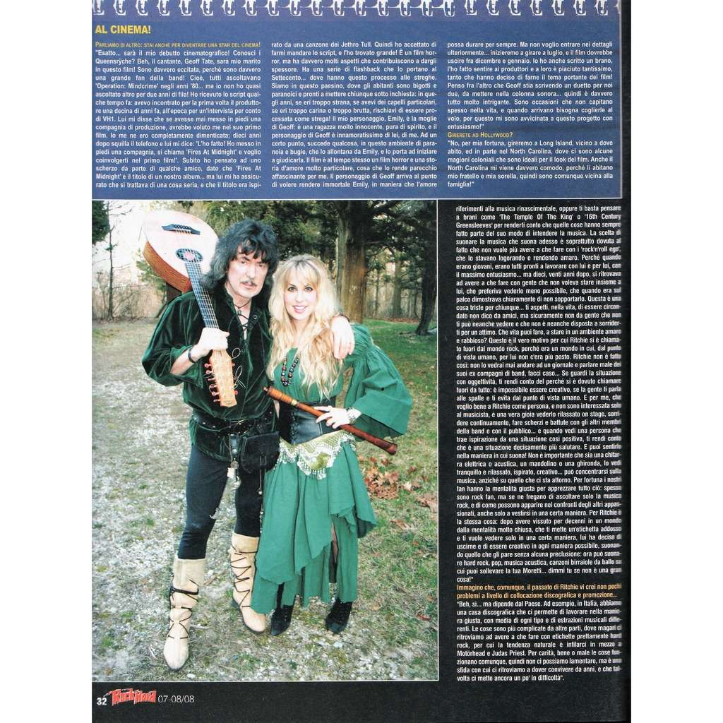 Deep Purple / Blackmore's Night Rock Hard (N.68 July/Aug. 2008) (Italian 2008 music magazine!)